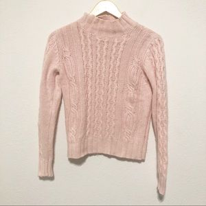 Ann Taylor Sweaters - Ann Taylor Baby Pink Cable Knit Mockneck Sweater